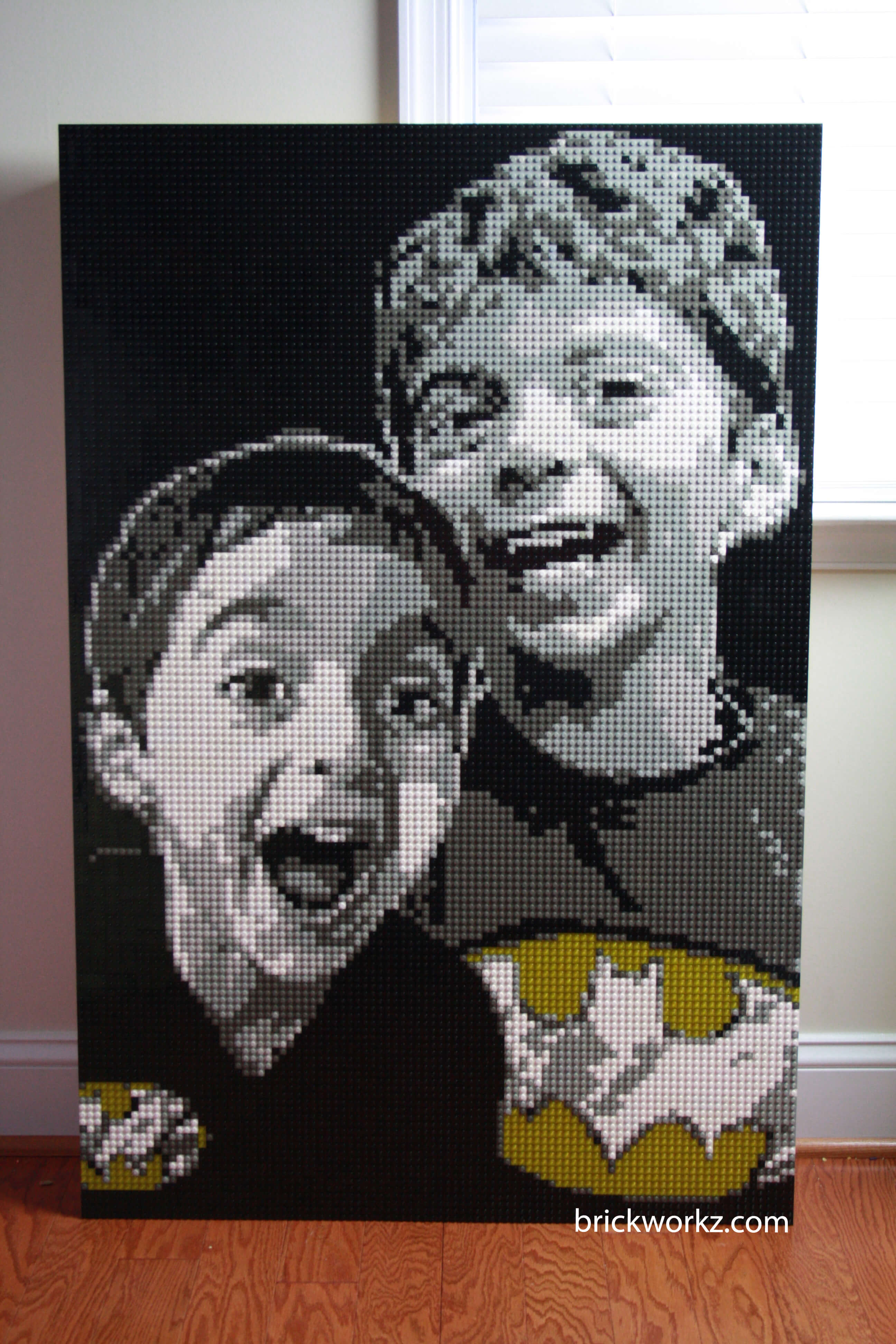 LEGO mosaic portrait of two boys